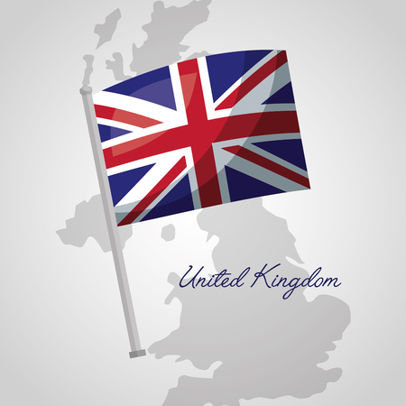 united kingdom country map background flag vector illustration Çizim