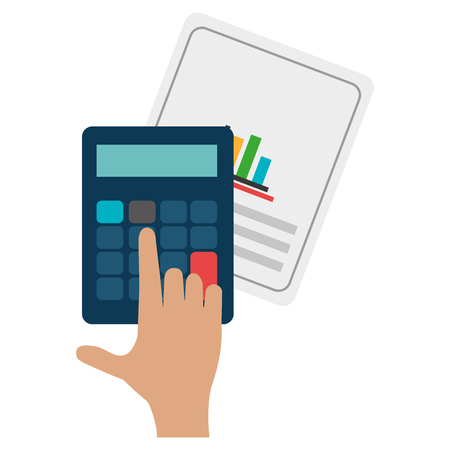 documents paper with calculator vector illustration design