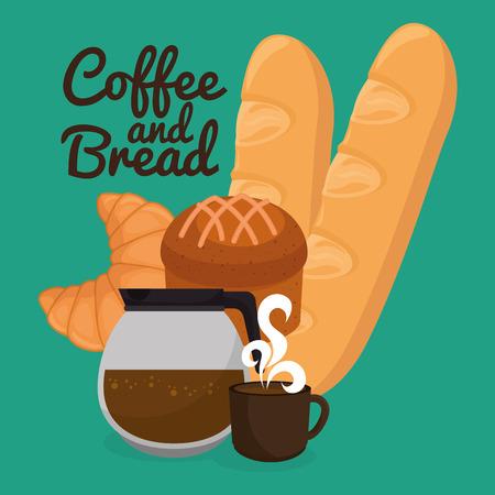 delicious breads and coffee label vector illustration design Stock Illustratie
