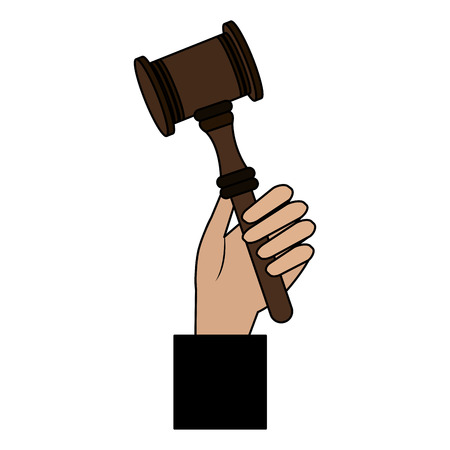 judge hand with justice hammer vector illustration design