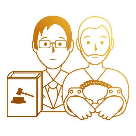 justice book with lawyer and prisoner vector illustration design