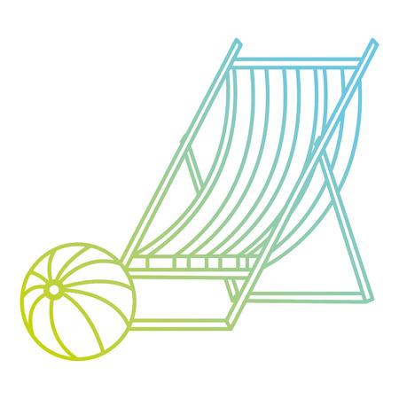 wooden beach chair with balloon vector illustration design
