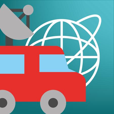 news communication relate car antenna information world vector illustration