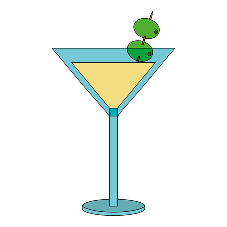 cocktail glass drink alcohol with olives vector illustration 向量圖像