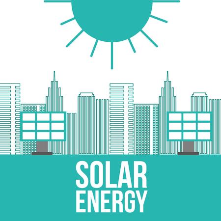 solar energy panels city buildings ecology vector illustration Illustration