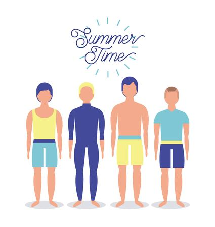 summer time vacation boys standing colorful swimsuit enjoy outdoor vector illustration