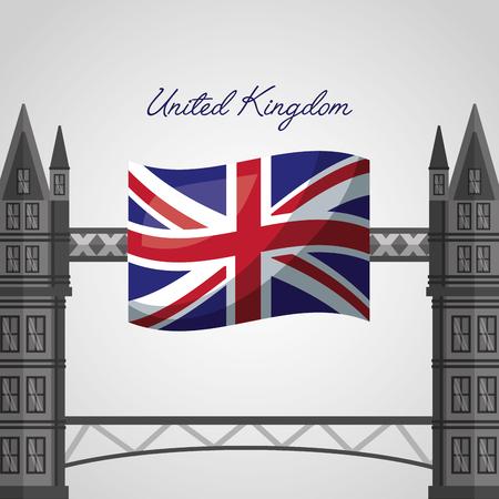 united kingdom places flag london brigde vector illustration