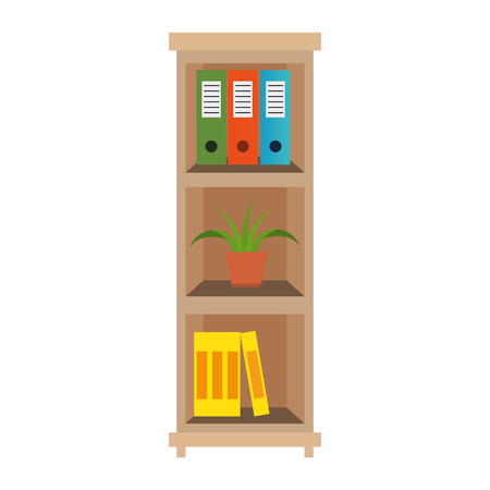 office boockcase wooden with books and plant vector illustration design