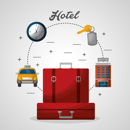 hotel red suitcases taxi building clock vector illustration