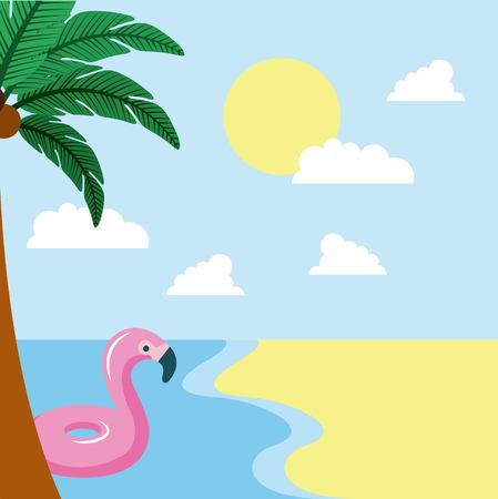 summer time sunny day palm flamingo float sea beach vector illustration