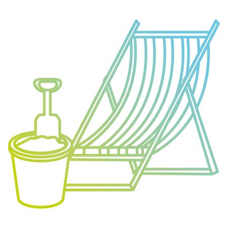 wooden beach chair and sand bucket vector illustration design