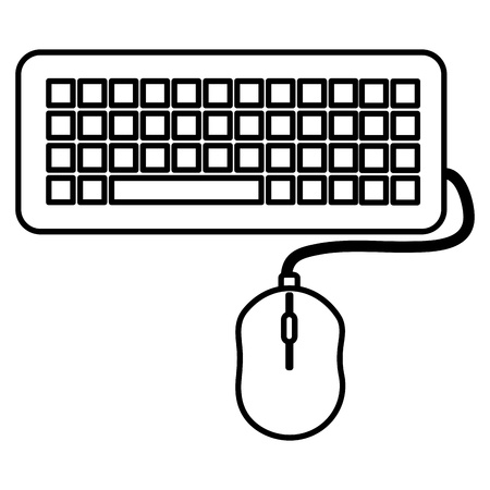 computer keyboard and mouse vector illustration design Illustration