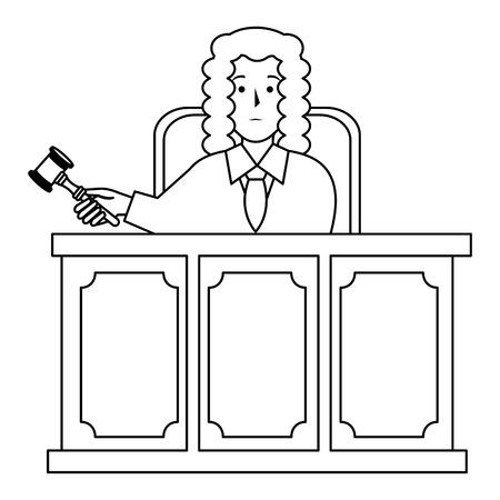 Gerechtigkeit Richter auf Bühne Charakter Vektor-Illustration Design