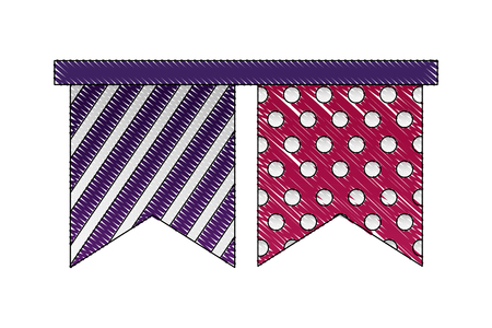decorative striped and dotted pennants celebration vector illustration