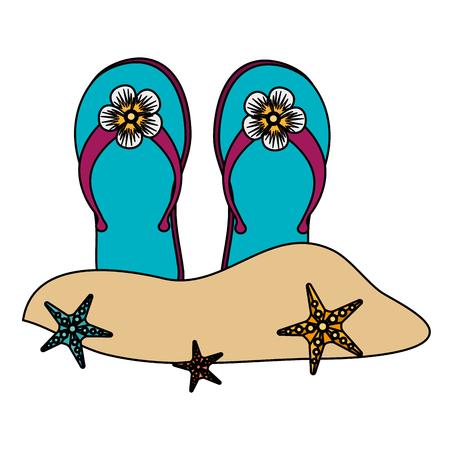 flip flops on the beach vector illustration design
