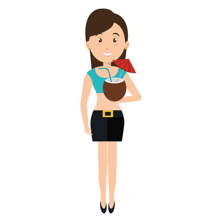 woman with coconut cocktail vector illustration design