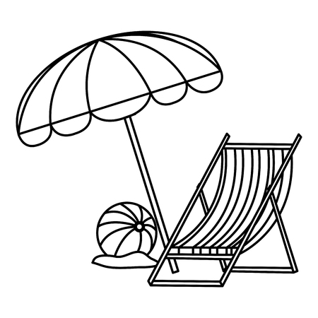 wooden beach chair with umbrella and balloon vector illustration design