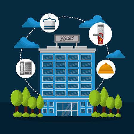 hotel building connection stickers telephone ring clock vector illustration