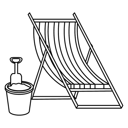 wooden beach chair and sand bucket vector illustration design