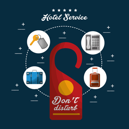 hotel service do not disturb tag connection telephone handbag key suit vector illustration