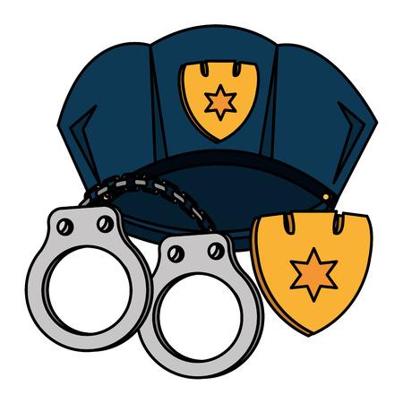 police cap and handcuffs vector illustration design Ilustrace