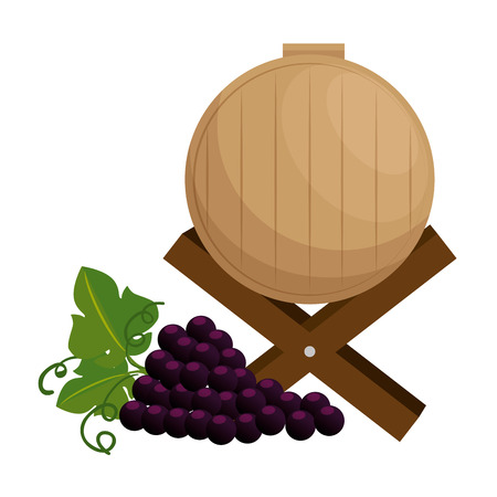 wine barrel with grapes cluster vector illustration design