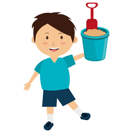 little boy with sand bucket vector illustration design