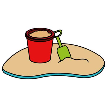 sand bucket on the beach vector illustration design Stock Illustratie