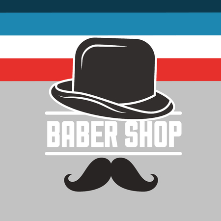 baber shop colors stripes sign hat man moustache vector illustration Ilustracja