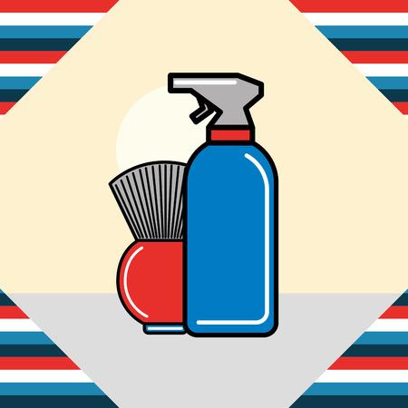 barber shop dough brush spray frame vector illustration Banque d'images - 104982840
