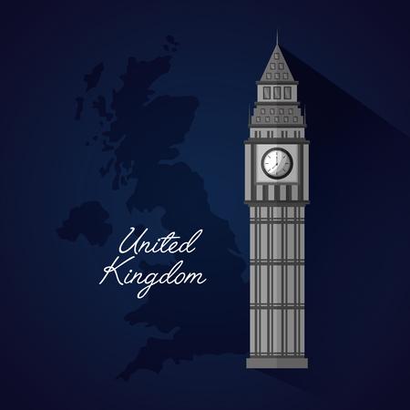 united kingdom blue sketch map background big ben reloj vector illustration