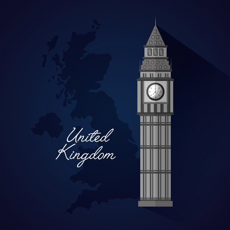 united kingdom blue sketch map background big ben reloj vector illustration