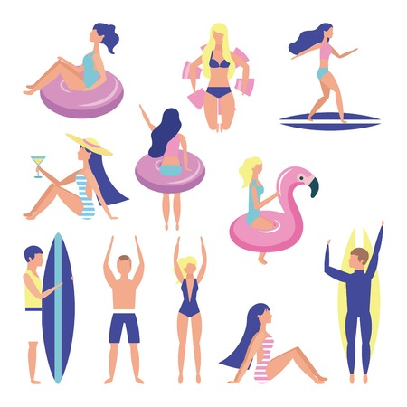 summer time vacations womans mans surf table sitting with floats vector illustration