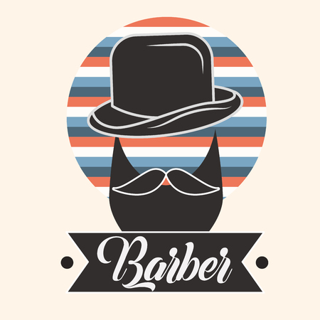 barber shop silhouette man beard moustache using hat sign label color ribbon vector illustration Foto de archivo - 104813399