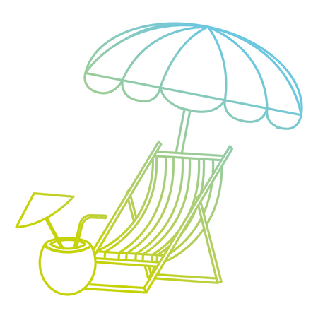 wooden beach chair with umbrella and coconut cocktail vector illustration