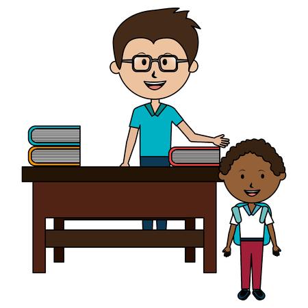 man teacher with desk and boy vector illustration design Illustration