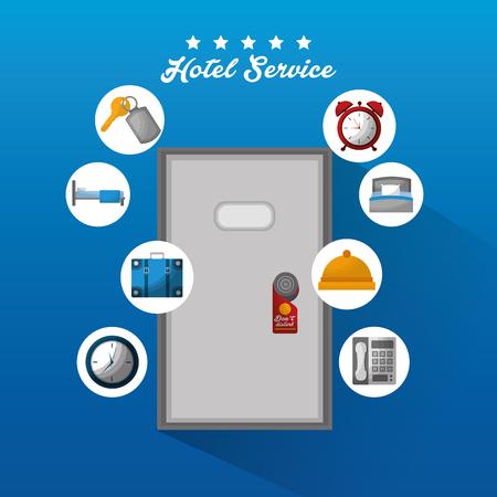 hotel building service door do not disturb tag clock ring hanging towel bed vector illustration
