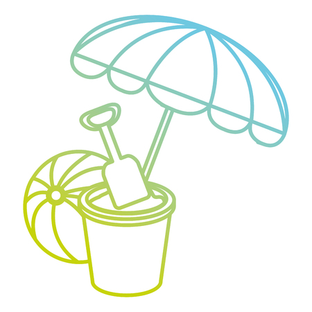 umbrella beach with sand bucket and balloon vector illustration design Illustration