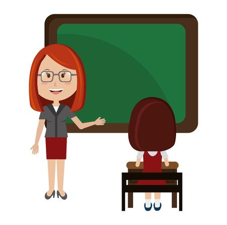 woman teacher with chalkboard and girl vector illustration design Illustration