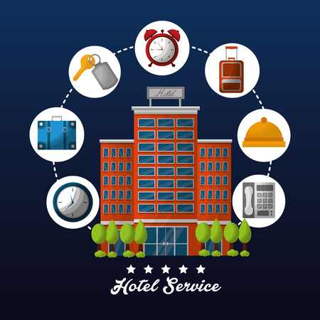 hotel high building service connection stickers ring clocks telephone bag vector illustration