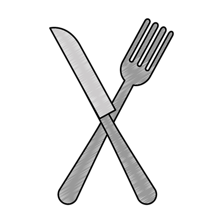 fork and knife cutleries vector illustration design