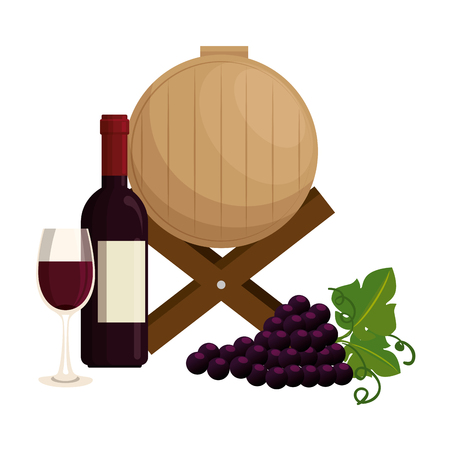 wine barrel with grapes cluster and bottle vector illustration design