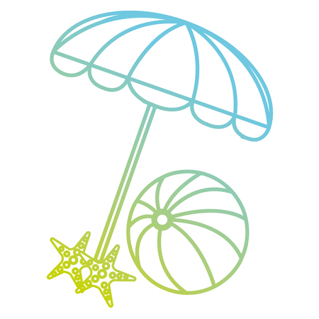 umbrella beach with ball and starfish vector illustration design