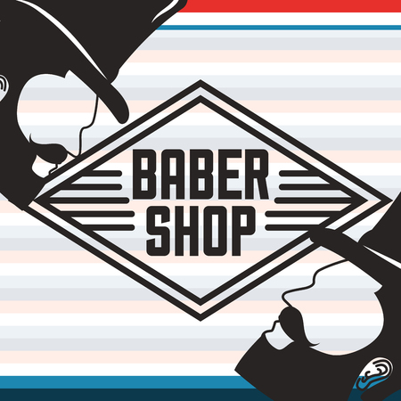baber shop gentlemans bearded man on the side using hats colors vector illustration  イラスト・ベクター素材