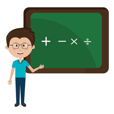 man teacher iwith chalkboard avatar character vector illustration design 向量圖像