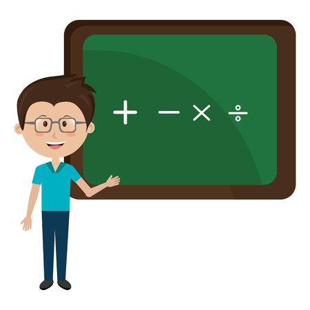 man teacher iwith chalkboard avatar character vector illustration design Illustration