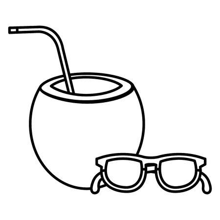 tropical coconut cocktail with sunglasses vector illustration design  イラスト・ベクター素材