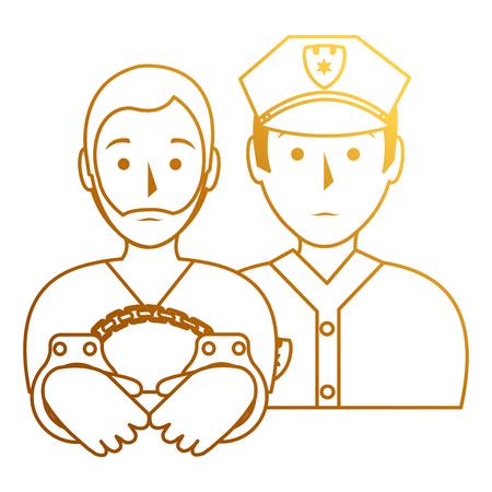 prisoner with police avatar character vector illustration design 向量圖像