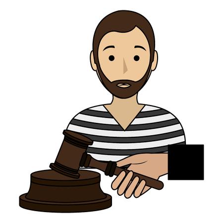 justice hammer with prisoner character vector illustration design  イラスト・ベクター素材