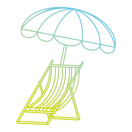 wooden beach chair with umbrella vector illustration design
